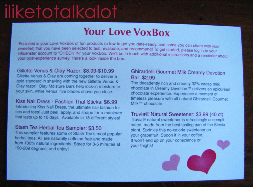 influenster love vox box contents card - Copy