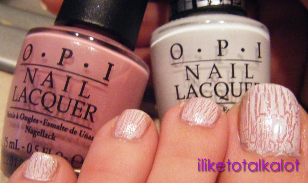 OPI Pedal Faster Suzi with OPI White crackle on top toes